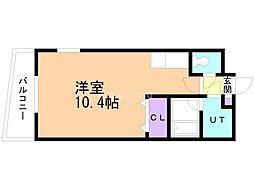 セントポーリアグランデュール 12階ワンルームの間取り