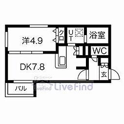 札幌市営南北線 平岸駅 徒歩7分の賃貸マンション 3階1DKの間取り