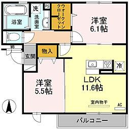 大阪府大阪市平野区背戸口3丁目の賃貸アパートの間取り