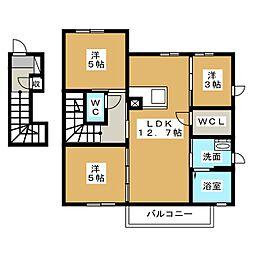 アンソレイエA[2階]の間取り