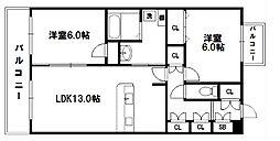 ハウゼフジタ新大阪[3階]の間取り