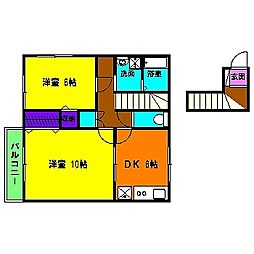 静岡県浜松市東区大瀬町の賃貸アパートの間取り