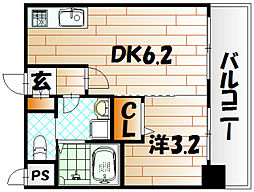 福岡県北九州市小倉北区馬借2丁目の賃貸マンションの間取り