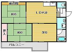 大阪府高槻市下田部町1丁目の賃貸マンションの間取り