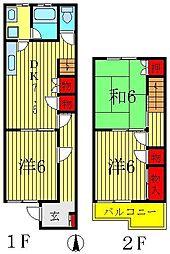 [テラスハウス] 千葉県松戸市上本郷 の賃貸【千葉県 / 松戸市】の間取り