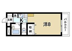 スタジオM 3階ワンルームの間取り