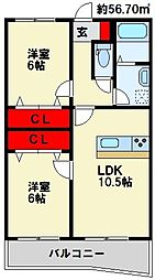 福岡県北九州市若松区小敷ひびきの3丁目の賃貸マンションの間取り