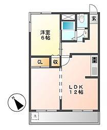 霞ヶ丘ハイツ[2階]の間取り