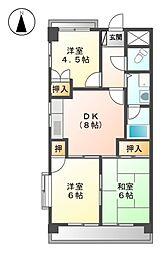 アスピア若鶴[7階]の間取り