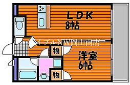 JR宇野線 大元駅 徒歩5分の賃貸マンション 2階1LDKの間取り