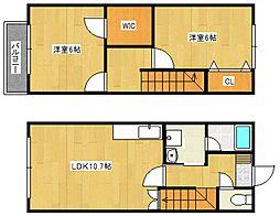 [タウンハウス] 福岡県久留米市南1丁目 の賃貸【/】の間取り