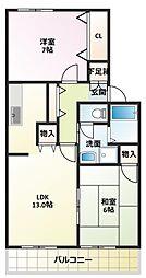 シャルム・クレールB棟[2階]の間取り