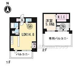 JR東海道・山陽本線 桂川駅 徒歩7分の賃貸マンション 4階1LDKの間取り