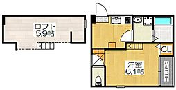 京都府京都市伏見区醍醐南西裏町の賃貸アパートの間取り