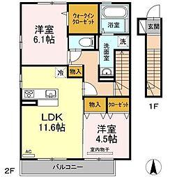 (仮)D-room久万ノ台[203号室]の間取り