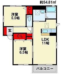 リバプール A棟[2階]の間取り