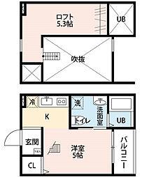 愛知県名古屋市北区金城3丁目の賃貸アパートの間取り