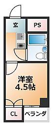 ケアンズクラブ帝塚山 5階ワンルームの間取り