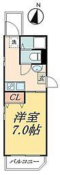 京成本線 お花茶屋駅 徒歩8分の賃貸マンション 4階ワンルームの間取り