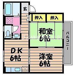 岡山県倉敷市玉島阿賀崎1の賃貸アパートの間取り