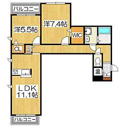シャーメゾン伏見桂川[3階]の間取り