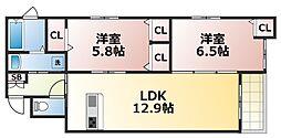 シャーメゾンヴィオラ 1階2LDKの間取り