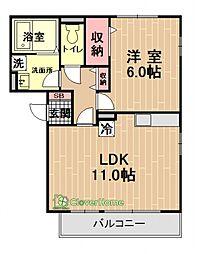 神奈川県相模原市中央区上溝6丁目の賃貸アパートの間取り