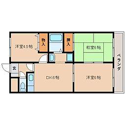 JR桜井線 櫟本駅 徒歩3分の賃貸マンション 2階3DKの間取り