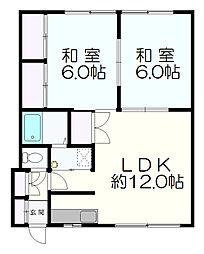 札幌市営東西線 新さっぽろ駅 徒歩14分の賃貸アパート 2階2LDKの間取り