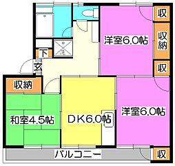 東京都清瀬市梅園3丁目の賃貸マンションの間取り
