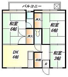 ビレッジハウス鈴蘭台 3号棟[4階]の間取り