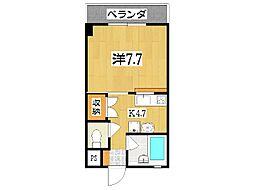 TAMAKIセントラルMマンション 2階1Kの間取り