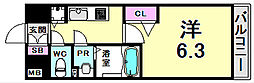プレサンスみなと元町駅前 9階1Kの間取り