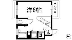 兵庫県西宮市甲東園2丁目の賃貸アパートの間取り