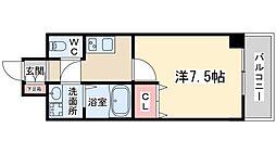 Osaka Metro谷町線 東梅田駅 徒歩9分の賃貸マンション 5階1Kの間取り