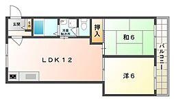 エクセルII 2階2LDKの間取り