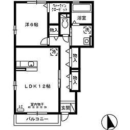 富山県富山市一本木の賃貸アパートの間取り
