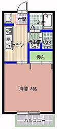 エストシャトーII 1階1Kの間取り