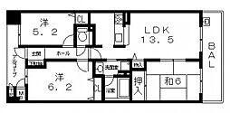 ファミールアクシス八尾サウススクエア S棟[1308号室号室]の間取り