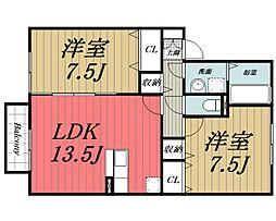 千葉県四街道市もねの里2丁目の賃貸アパートの間取り