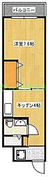山口ホーム矢部公園[402号室]の間取り