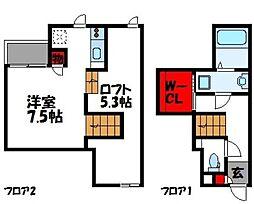 福岡県福津市中央6丁目の賃貸アパートの間取り