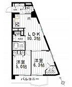 2LDKの間取り図。7階・東南角部屋で陽当り眺望良好です。