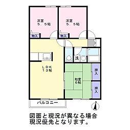 埼玉県越谷市花田4丁目の賃貸アパートの間取り
