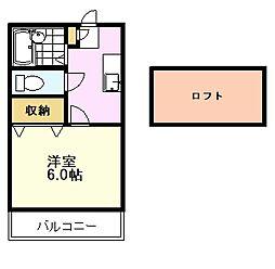 JR中央線 国立駅 徒歩15分の賃貸アパート 2階1Kの間取り