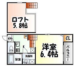 ドルチェ栄II 1階1Kの間取り