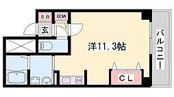 JR東海道・山陽本線 姫路駅 徒歩13分の賃貸マンション 8階ワンルームの間取り