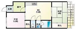 大阪府大阪市平野区瓜破西2丁目の賃貸マンションの間取り