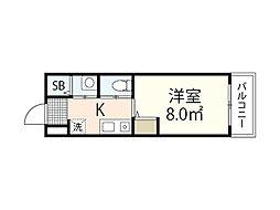 JR芸備線 矢賀駅 徒歩8分の賃貸マンション 1階1Kの間取り