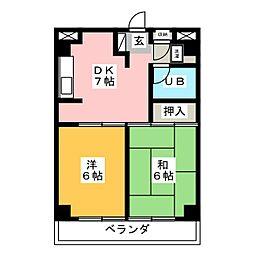 八本松マンション[13階]の間取り